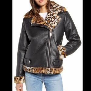 Sam Edelman leather and leopard fur jacket